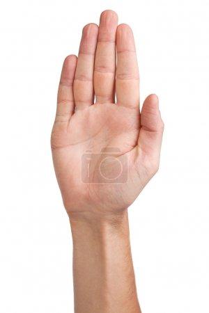 Photo pour Geste de la main d'un homme, isolé sur un fond blanc - image libre de droit