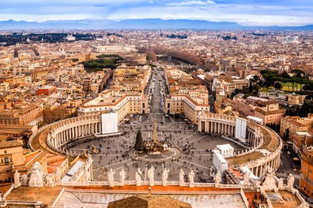 Photo for Rome, Italy. Famous Saint Peter's Square in Vatican and aerial view of the city. - Royalty Free Image