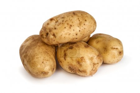 Group of potatoes isolated on white