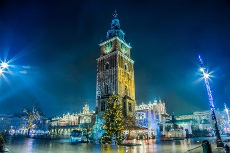 Poland, Krakow. Market Square at night.