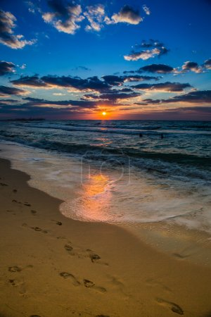 Dubai sea and beach, beautiful sunset at the beach