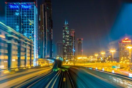 Dubai metro railway in motion blur