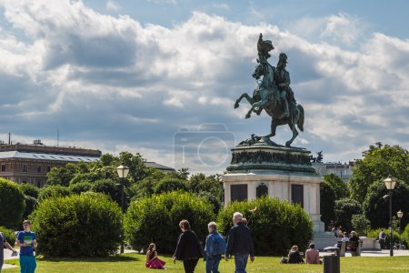 horse and rider statue of archduke Karl in vienna at the Heldenp