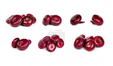 set of a red onions, isolated on white