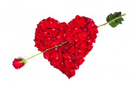 Heart shape made out of rose petals
