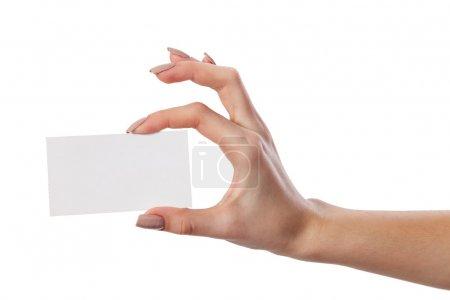 Photo pour Main de femme d'affaires sur papier vierge carte de visite, closeup, isolé sur fond blanc - image libre de droit