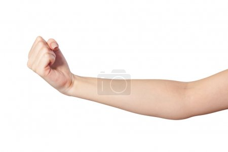 Photo for Hand with clenched a fist, isolated on a white background - Royalty Free Image