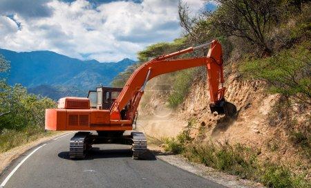Excavator repair the road.