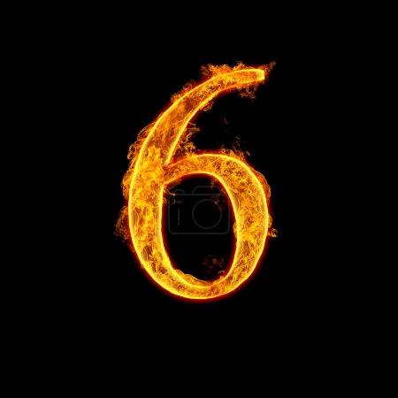 Fire alphabet number 6 six