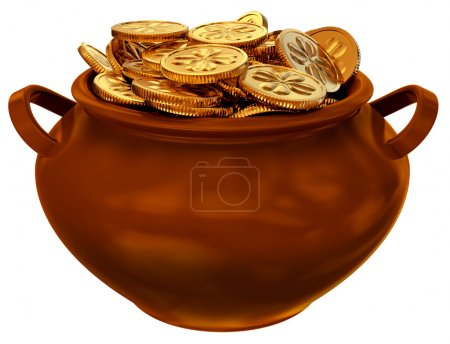 Photo pour Pan avec des pièces comme un symbole de fortune et de la douzième - image libre de droit