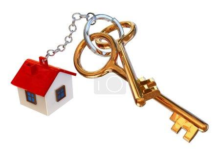 Photo pour Clefs d'or de la maison avec charme comme symbole du crédit hypothécaire - image libre de droit
