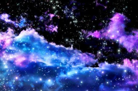 Photo pour Bleus et magenta aurores boréales et les étoiles brillent à travers les nuages et ressemblent à une naissance d'une nouvelle nébuleuse après l'explosion de la supernova - image libre de droit