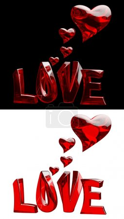 Photo for A set of 3D word LOVE with hearts on a black and white backgrounds - Royalty Free Image