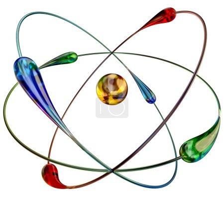 Photo pour Atome dans les réactions nucléaires de fusion froide à la température ambiante est une source d'énergie bon marchée et abondante. modèle 3D - image libre de droit