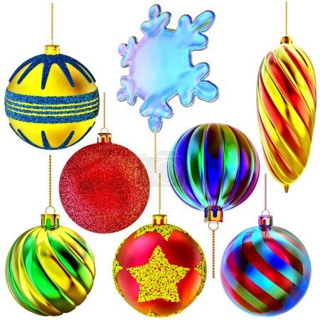 Set of Christmas-tree balls and snowflake