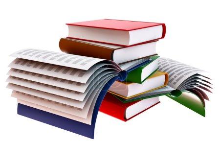Photo pour Groupe de livres scolaires ouverts pour l'éducation - image libre de droit