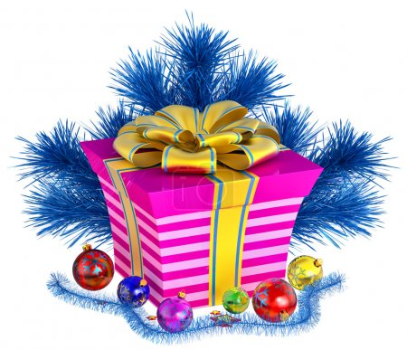 Christmas tree toys and gift with golden bow