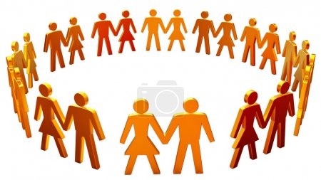 Photo for Figures of men and women arranged in the circle on a white background - Royalty Free Image