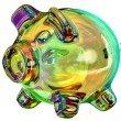 Money-box in the form of a colored glass piggy ban...