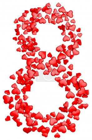 Photo for Digit eight consisting of red hearts as element of decorations for March 8. International Women's Day - Royalty Free Image