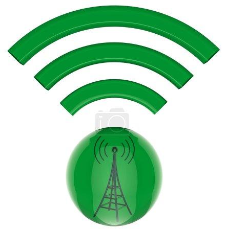 Photo for 3D model, button. Digital transmitter sends information signals - Royalty Free Image