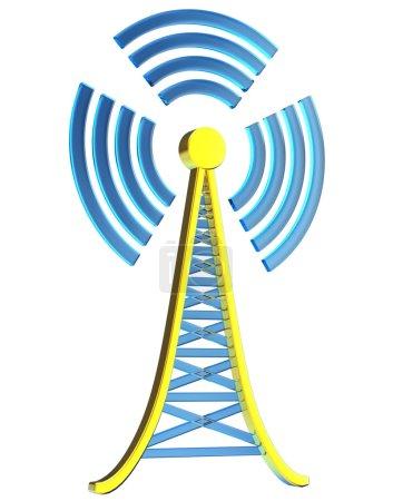 Photo pour Puissant émetteur numérique pour la télévision, la diffusion mobile et multimédia envoie des signaux d'information depuis la tour haute - image libre de droit