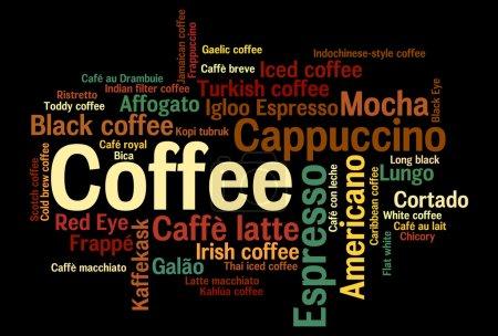 Photo pour Infographie nuage Word 44 sortes de boissons au café - image libre de droit