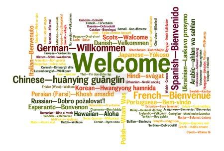 Photo pour Mot de bienvenue en 78 langues différentes. Concept de nuage de mots - image libre de droit