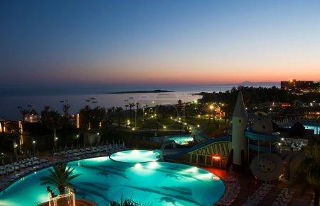 Night hotel pool