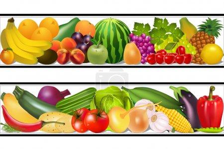 Illustration pour Illustration set nourriture légumes et fruits peinture vecteur humide - image libre de droit
