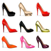 Illustration set of women's shoes with heels