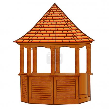 Of a wooden gazebo on white