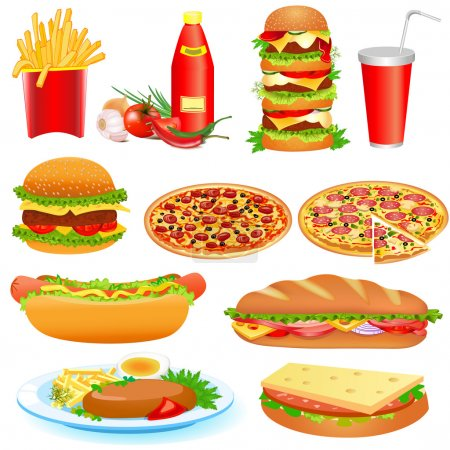 Illustration for Illustration with a set of fast food and ketchup pitsey - Royalty Free Image