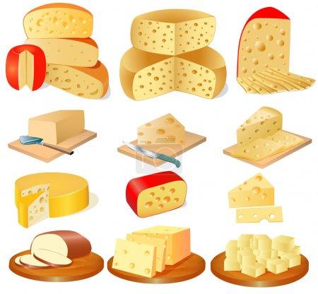 Illustration pour Illustration d'un ensemble de différents types de fromage - image libre de droit