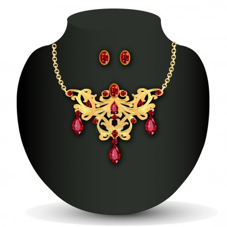 of necklace with red jewels and earrings