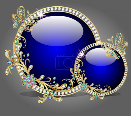 Background with precious stones, gold pattern and the glass ball
