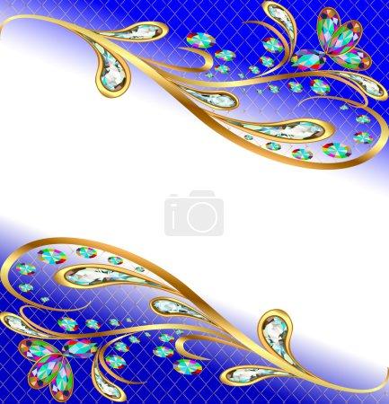 Illustration pour Fond d'illustration avec des pierres précieuses, motif or, et des fleurs - image libre de droit