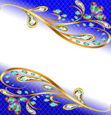 background with precious stones gold pattern and flowers