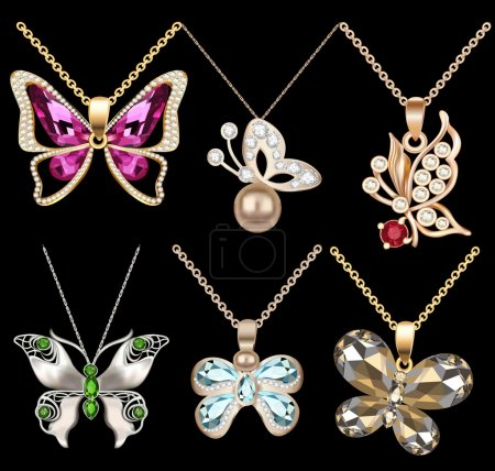 Illustration for Illustration of a set of butterfly pendants with precious stones - Royalty Free Image