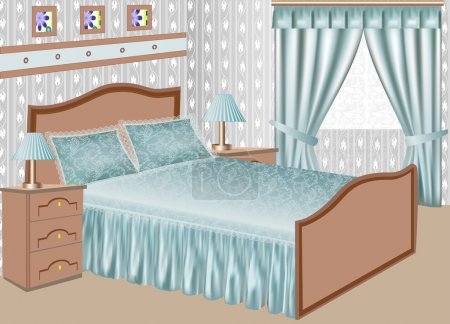 Illustration for Illustration of the interior of a bedroom with a satin gown - Royalty Free Image
