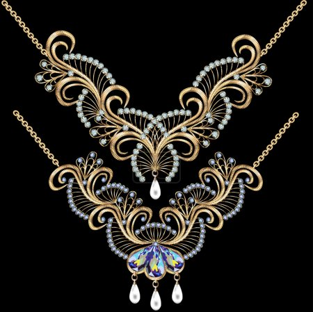 necklace women for marriage with pearls and precious stones on