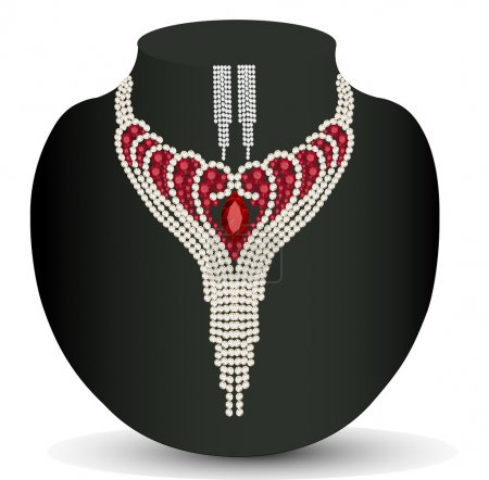 female necklace and earrings with red precious stones