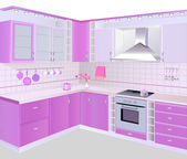 kitchen interior with pink furniture and tiles