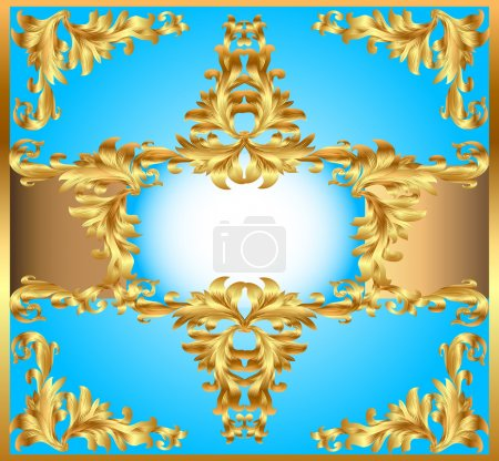 Blue background painting frame, with ornaments of gold