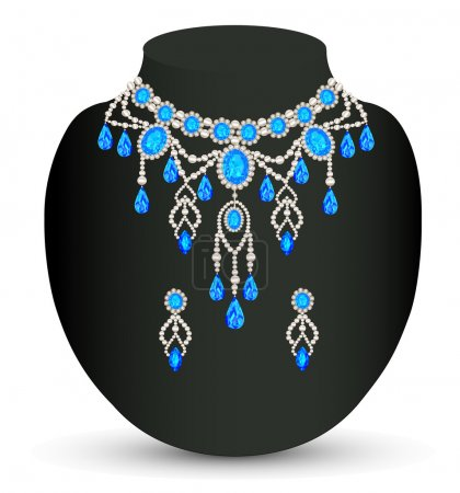 jewelry female necklace and earrings with blue jewels