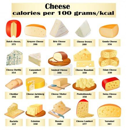 Illustration pour Illustration d'un ensemble de différents types de fromage avec des calories - image libre de droit