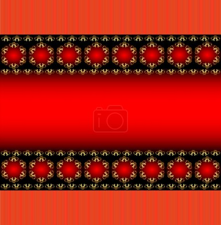 Background frame with a horizontal band with gold ornament