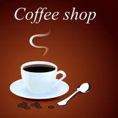 Pozadí s šálkem kávy a zrna