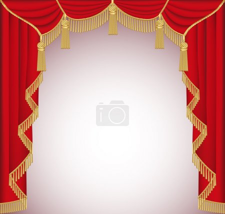 Illustration for Illustration background with red velvet curtain with tassel - Royalty Free Image