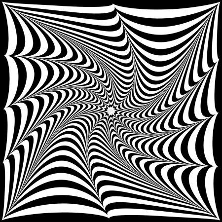 Illustration pour Illustration d'une illusion optique de rayures noires et blanches sous la forme d'une étoile tordue - image libre de droit